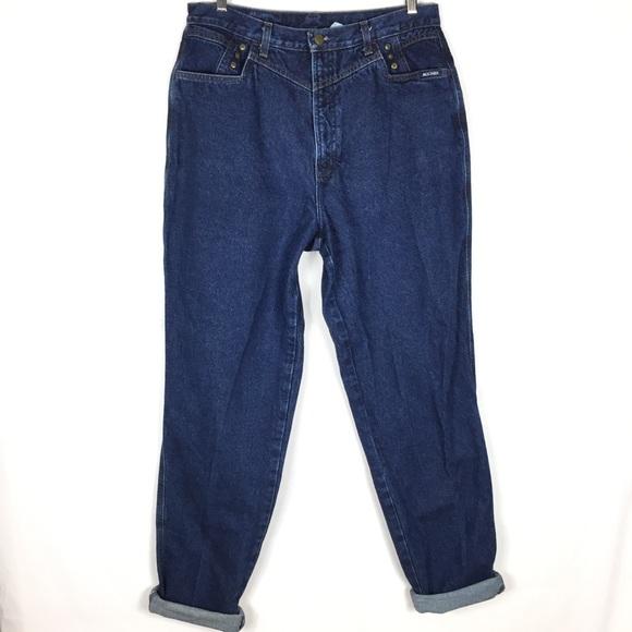 Vintage Denim - Vintage 90's high rise mom dark wash blue jeans